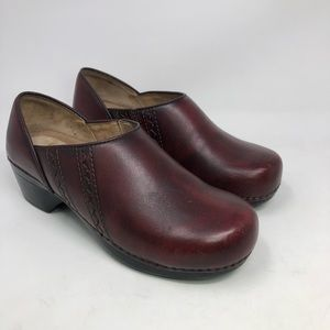 DANSKO Sienna Clogs Shoes Red Leather Sz 37 6.5-7